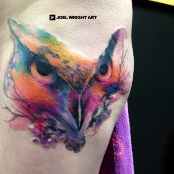 Joel Wright owl tattoo